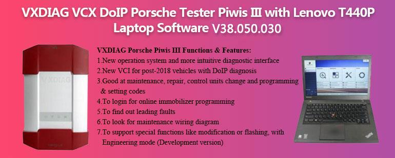 VXDIAG Piwis 3 Porsche Tester Piwis III Porsche Diagnostic Tool with Lenovo T440P Laptop V38.300.030
