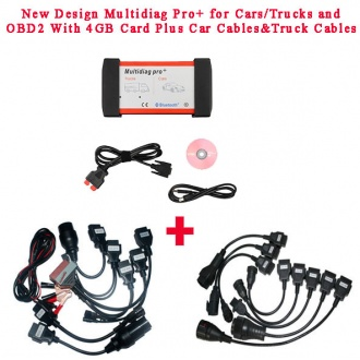 New Design Multidiag Pro+ V2014.03 for Cars/Trucks and OBD2 with 4GB Memory Card Plus All Cables and Plastic Box