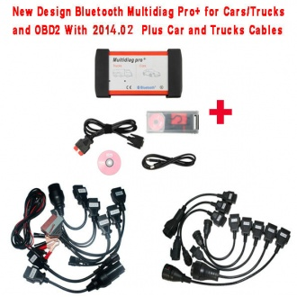 New Design Bluetooth Multidiag Pro+ V2014.03 for Cars/Trucks and OBD2 with 4GB Memory Card Plus All cables and Plastic B