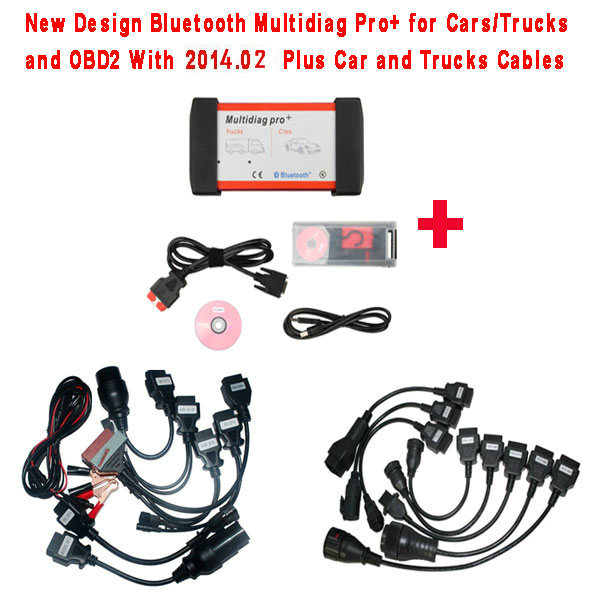 New Design Bluetooth Multidiag Pro+ V2015.03 for Cars/Trucks and OBD2 with 4GB Memory Card Plus All cables and Plastic B