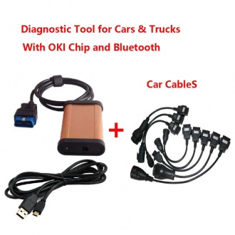 TCS CDP Diagnostic Tool for Cars& Trucks & Generic 3 in 1 With OKI Chip and Bluetooth 2014.02 Version  With Car Cables