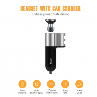 ICARSCANNER Q10 Bluetooth Headset with Dual USB Car Charger Bluetooth v4.1 Wireless Headphones For ISO/Android