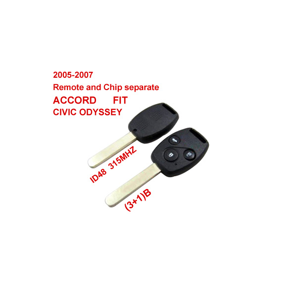 2005-2007 Remote Key 3+1 Button and Chip Separate ID:48(315MHZ) for Honda