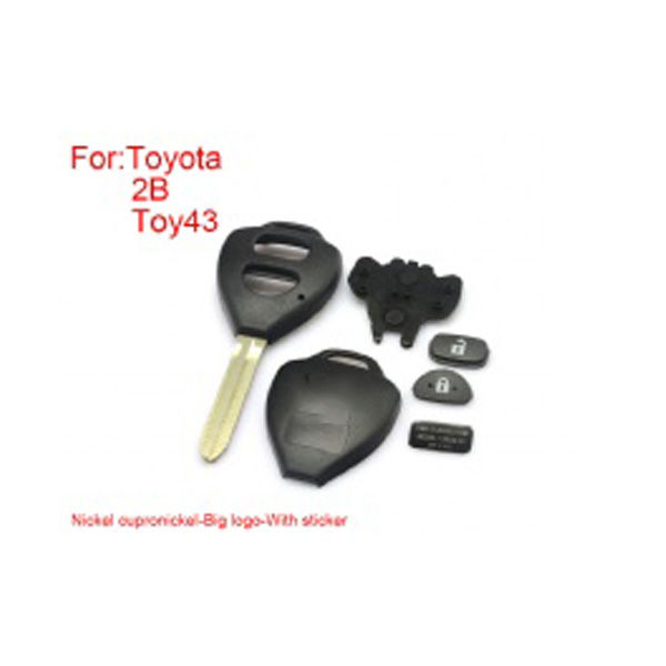 Remote Key Shell 2  Buttons Easy to Cut Copper-Nickel Alloy Big Logo with Sticker for Toyota Corolla 5pcs/lot
