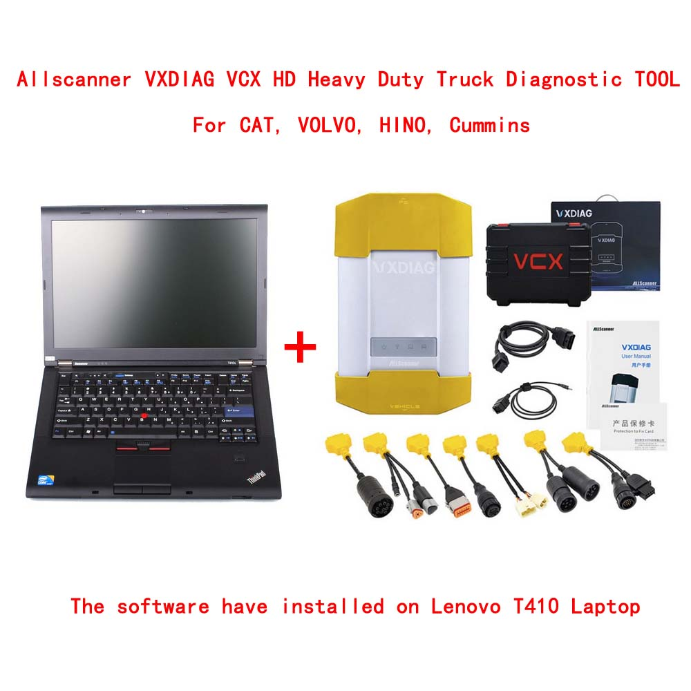 Allscanner VXDIAG VCX HD Heavy Duty Truck Diagnostic TOOL for CAT, VOLVO, HINO, Cummins With Lenovo T410 Laptop Ready To