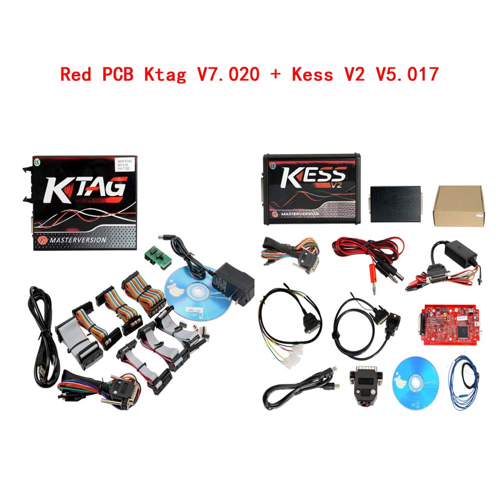 Kess V2 V5.017 Red PCB Online Version V2.53 Plus 4 LED Ktag 7.020 V2.27 Red PCB EURO Online Version ECU Programmer