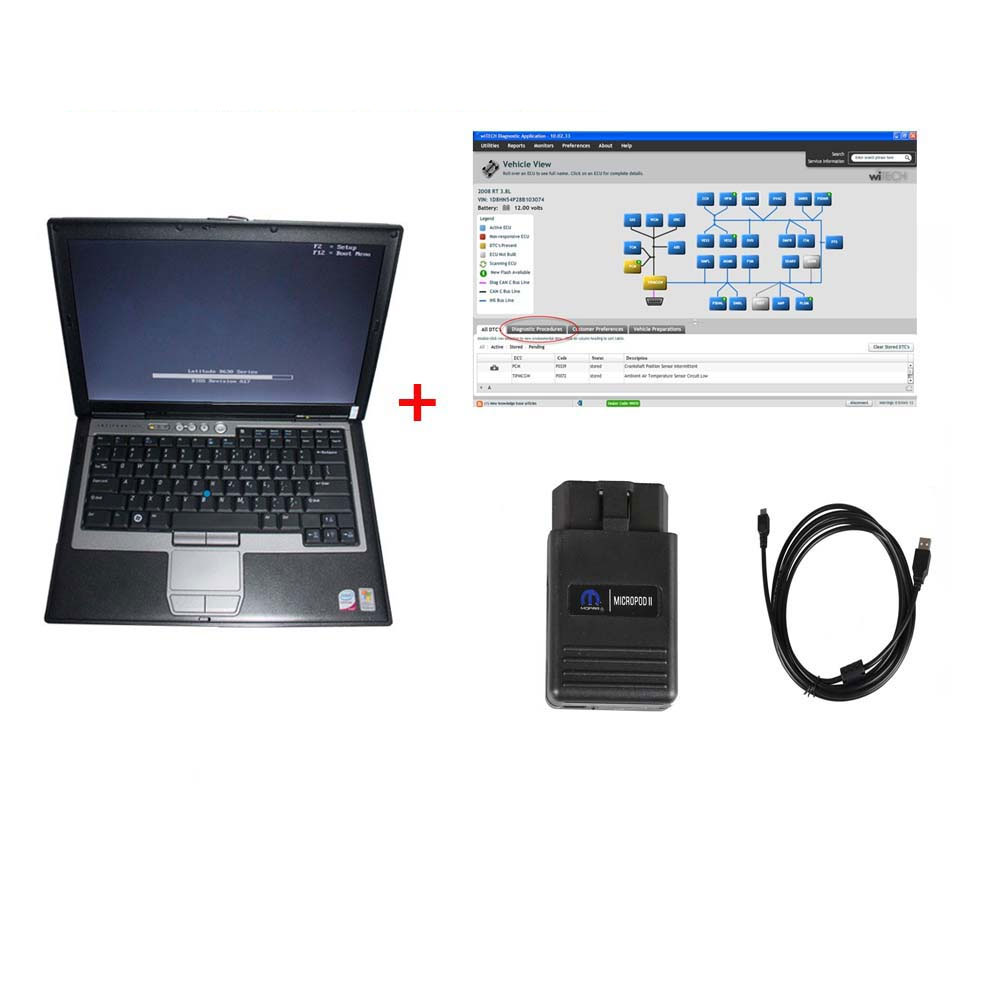 Chrysler Diagnostic Tool wiTech MicroPod 2 V17.04.17 With DELL D630 or Lenovo T420 Laptop Ready To Use Update Online