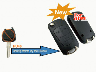 Opel modified flip remote key shell 3 button(HU46)