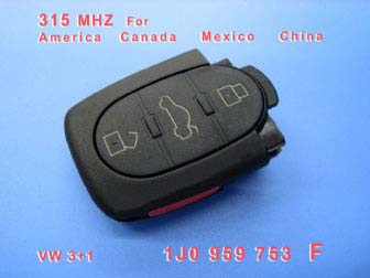 VW 3+1 Remote 1 JO 959 753 F 315Mhz For America Canada Mexico China