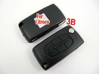 Citroen flip remote key shell 3 button( light button and without battery location)