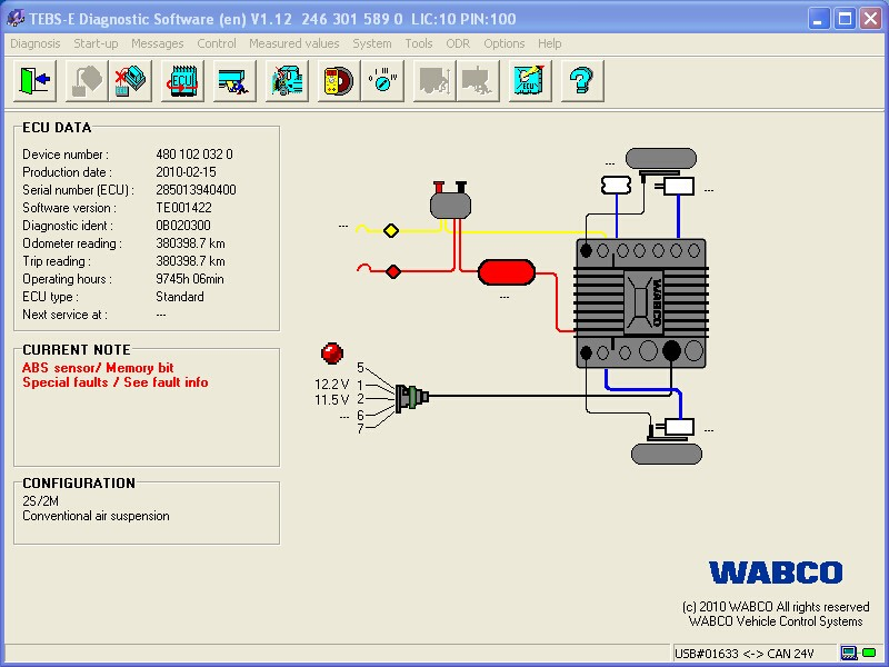 wabco diagnostic kit  wdi  wabco trailer and truck