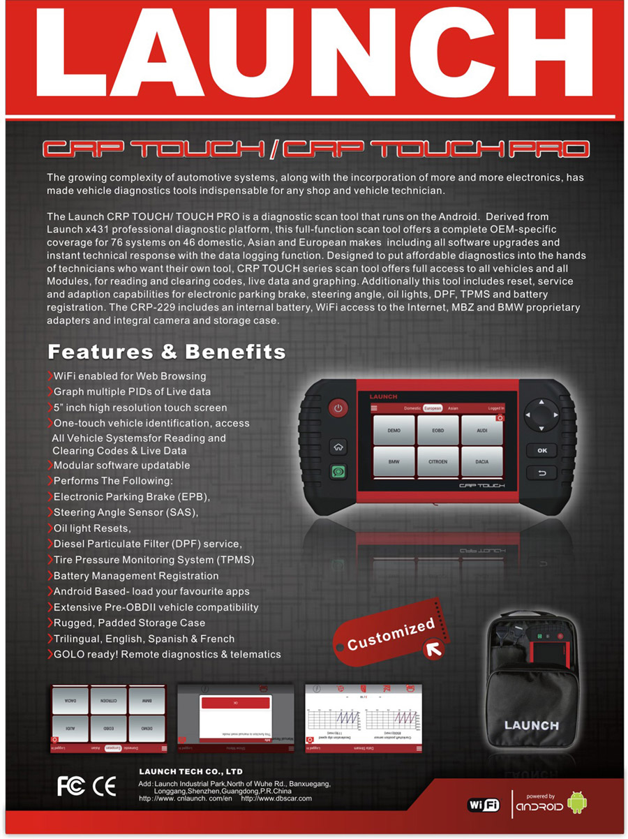 Launch Creader Crp Touch Pro 5 0 Quot Android Touch Screen