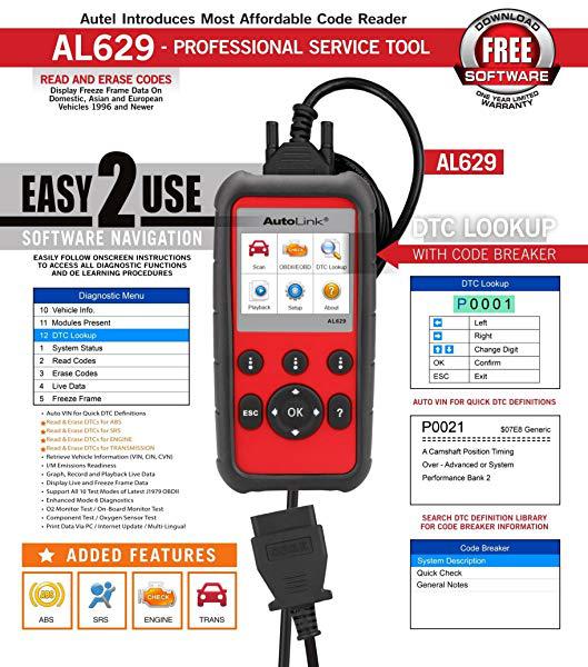 US$108 00 Autel AL629 AutoLink ABS/SRS/Engine/Transmission +